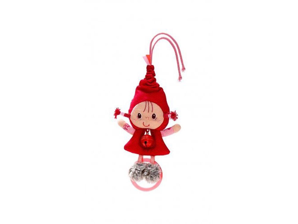 Afbeelding van Wat een lief klein schattig poppetje in de vorm van Roodkapje. Roodkapje heeft een belletje in haar buik en een bijtringetje bij haar voetjes. Je kan haar ophangen aan de lusjes bovenaan haar puntmutsje en deze is nog elastisch ook. Verder als je aan me z