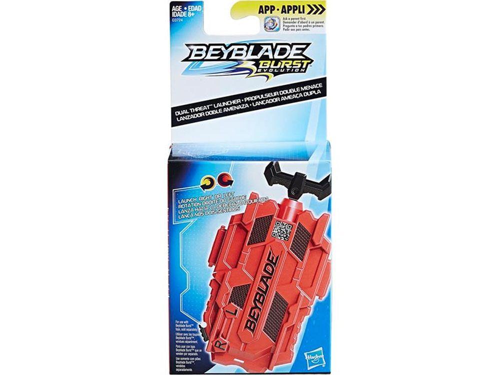 Afbeelding van De Beyblade Burst Dual Threat Launcher is een trekkoord Launcher met een brede greep. De Launcher is compatibel met rechts- en linksdraaiende Beyblade Burst tollen. Let it Rip! Neem het op tegen een tegenstander met Beyblade Burst tollen die zijn geïnspir