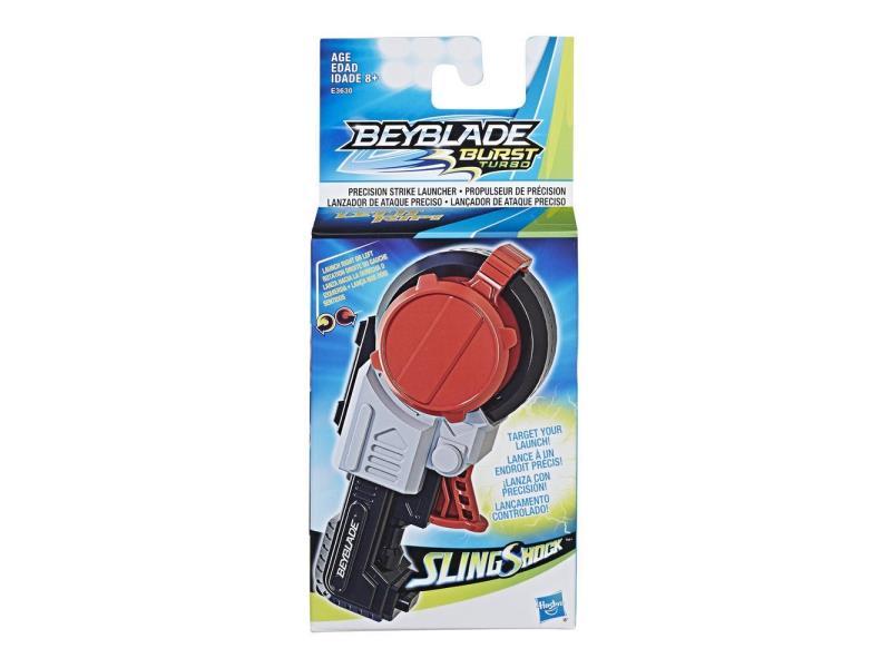 Afbeelding van Berijd de rails met Beyblade Burst Slingshock-tech! De Precision Strike Launcher werkt met links of rechts draaiende Beyblade Burst-tops, inclusief Slingshock-tops (die afzonderlijk worden verkocht, afhankelijk van beschikbaarheid). Slingshock tops zijn v