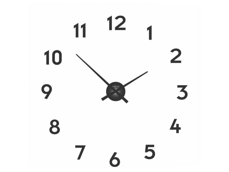 Nextime Wall Clock - Ø 48 Cm X 3 Cm - Aluminium - Black - 'Small Hands'