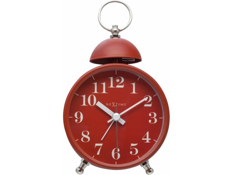 Nextime Alarm Clock - 16 X 9.2 X 5.4 Cm - Metal, Glass - Red - 'Single Bell'