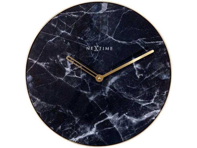 Nextime Wall Clock - Ø 40 Cm - Glass - Metal - Black - 'Marble'