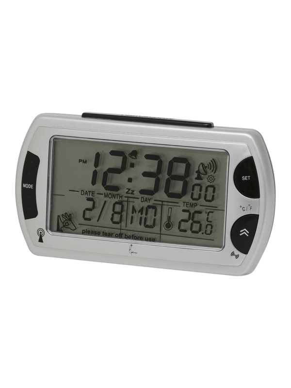 Dcf Alarm Clock Lcd W/ Light/T°/Hy /Snooze Silver