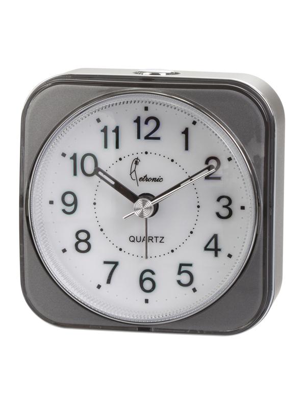 Quartz Alarm Clock Snooze-Light-Silent Grey