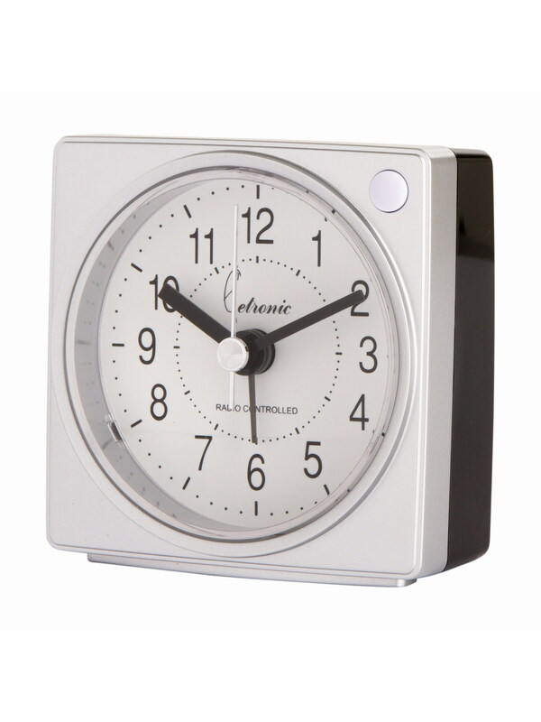 Radio-Controlled Alarm Clock Light-Snooze Metal Silver