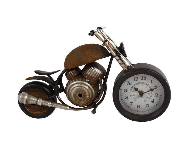 Klok Motor Roest Metaal 35X13X17.5Cm