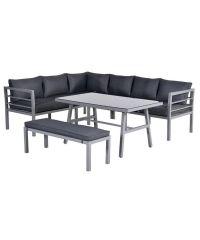 Blakes Lounge/Dining Set Hoek Met Tafel Aluminium Arctic Grey/ Kussens Reflex Black