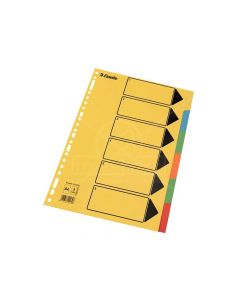 Index Karton 6 Tabs Felle Kleuren