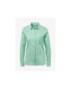 Tom Tailor Dames 1902 Stripe Mix Shirt Green Offwhite Stripe