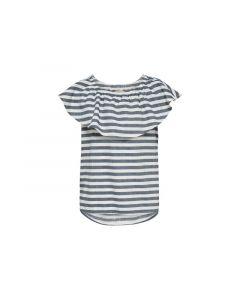 Only Kids 1904 Konida Striped Top White Denim Grey