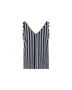 Vero Moda Noos Vmsasha S/L Button Top Noos Navy Blazer Snow White Coco Xs