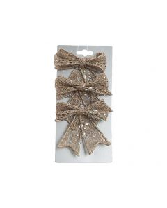 K Plastic Bow W Glitter W Hanger Champagne 2X9X9Cm