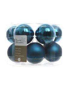 K Kerstbal Glas Glans-Mat Petrol Blauw Dia5Cm