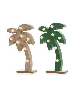 Led Palmboom Hout 5X14X24Cm-8L Warm Wit 2Assortiment Prijs Per Stuk