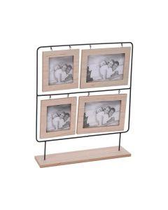 Fotolijst Hout Voor 4 Foto'S Metalen Frame 35X8X38.5Cm
