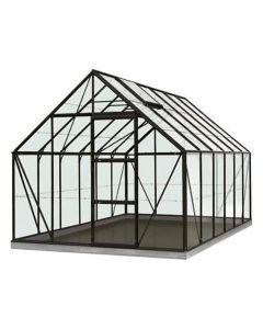 Serre Intro Grow - Oliver - 9,9M² Zwart Ral9005 Gehard Glas 3Mm - 2,57M X 3,84M X H1,20M/2,23M