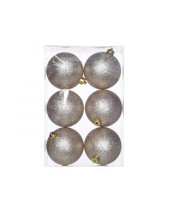 Kerstbal Glitter Set6 Champagne D8Cm