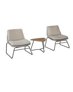 Danic Lounge Set Alu/ Wicker 2 Zetels Met Tafel