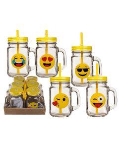 Emoticon Drinkglas Met Rietje 450Ml
