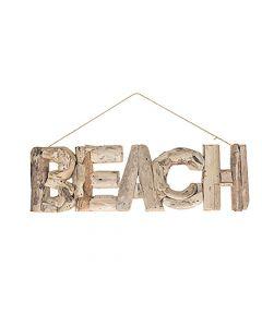 "Woord ""Beach"" Drijfhout 53X17X3Cm Natural"