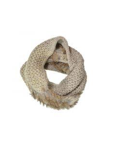 Seeberger W18 Loop Shawl Suri Wit Real Fur Sand