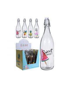 Fles Glas Met Beugeldop, 1Ltr, 85Xh315Mm, 4Assortiment Prijs Per Stuk