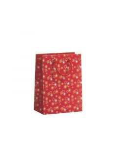 Giftbag Twinkelling Stars Red Medium