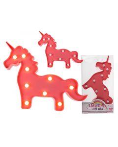 Out of the blue Unicorn Pink Pvc Met 9 Led Lampjes 30X24Cm