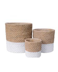 Cement Planter W Weaving Natural Dia23X23.5Cm
