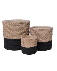 Cement Planter W Weaving Natural/Colour(S) Dia12.5X12Cm
