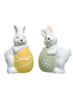 Terra Rabbit W Egg 2Ass White/Colour(S) 8X9X12.5Cm