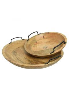 Mango Wood Tray Round W Handle Natural Dia29X10.5Cm