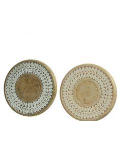 Mango Deco Plate W Enamel 2Cls Assorted Dia22X2Cm