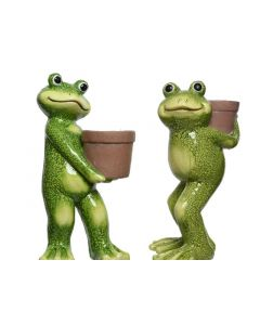 Poly Magn Frog W Planter 2Ass Green/Colour(S)