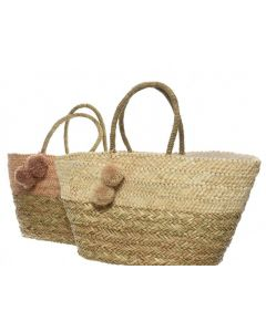 Sea Grass Bag W Pompom 2Cls Assorted 20X56X51Cm