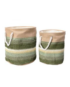 Paper Basket W Handle Round Green Dia30X36Cm
