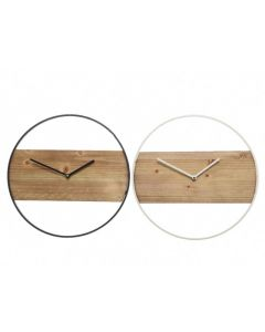 Iron Clock W Wood 2Col Ass Assorted Dia36X3.5Cm