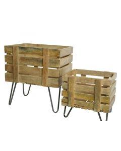 Mango Wood Planter W Iron Feet Natural 25X30X28Cm