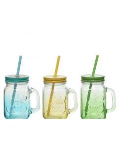 Glass Drinking Glass 3Col Ass Assorted 8X10.5X13Cm