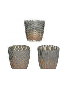 Glass Tlighth Relief 3Ass Anthracite Dia7.5X7.5Cm