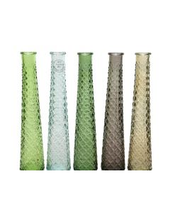 Recycle Glass Vase 5Col Ass Assorted Dia7X32Cm