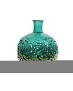 Recycle Glass Vase Leaf Emerald Green Dia33X44Cm