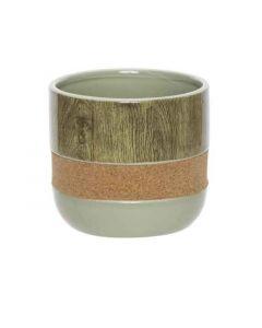 Bloempot Cork - Wood Groen 13Xh11,6Cm Ro
