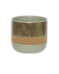 Bloempot Cork - Wood Groen 16,5Xh14,4Cm