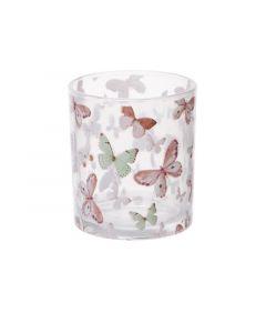 Theelichthouder Butterfly 7Xh8Cm Glas
