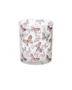 Theelichthouder Butterfly 9Xh10Cm Glas