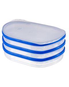 Curver Grandchef Vleeswarendoos 3 Trays Transparant / Blauw 242X172X110