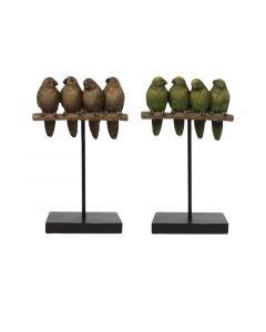 Vogels Op Stok Polyresin 15.5X7.2X25Cm Groen/Bruin 2 Assortimenten Prijs Per Stuk