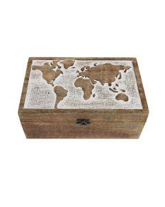 Opbergkist Mango Wereldkaart 30X20X17Cm