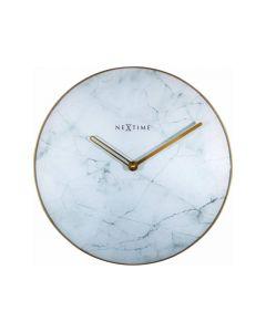 Nextime Wall Clock - Ø 40 Cm - Glass / Metal - White - 'Marble'